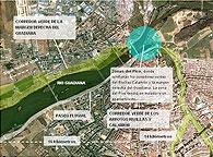 El parque fluvial de la margen derecha empieza a construirse en septiembre. El nuevo paseo del Guadiana conectará con el corredor verde de los arroyos Rivillas y Calamón en la zona de El Pico, a los pies de la Alcazaba.La CHG adjudicará el proyecto